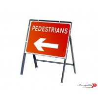 Pedestrians Left - Metal Sign Face With Frame & Clips