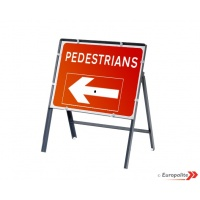 Pedestrians Direction Sign - Metal Framed UK Temporary Road Sign With Reversible Arrow