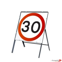 30mph - Metal Road Sign Face With Frame & Clips