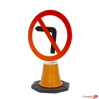 No Left Turn Road Sign: Cone Sign