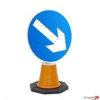 Keep Right Road Sign: Cone Sign