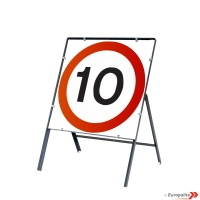 10mph - Metal Road Sign Face With Frame & Clips