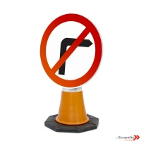 No Right Turn Road Sign: Cone Sign