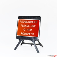 Pedestrians Please Use - UK Temporary Plastic Framed Road Sign