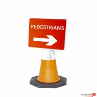 Pedestrians Right Cone Sign Road Sign