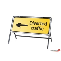 Diversion Left - Metal Road Sign Face With Frame & Clips
