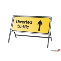 Diversion Ahead - Metal Road Sign Face With Frame & Clips