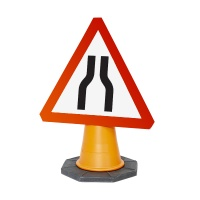 Road Traffic Cone Mounted Temporary UK Road Signs
