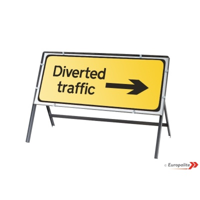 Diversion Right - Metal Road Sign Face With Frame & Clips