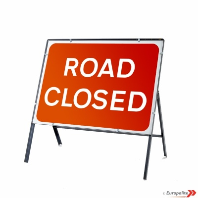 Road Closed - Metal Faced Road Sign With Frame & Clips