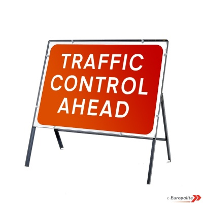 Traffic Control Ahead - Metal Road Sign Face With Frame & Clips