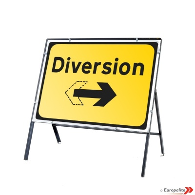 Diversion (Reversible) - Metal Road Sign Face With Frame & Clips