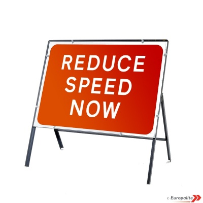 Reduce Speed Now - Metal Road Sign Face With Frame & Clips