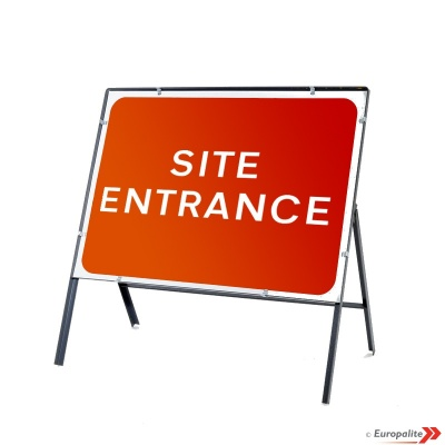 Site Entrance - Metal Road Sign Face With Frame & Clips