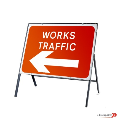 Works Traffic Left - Metal Sign Face C/w Frame & Clips