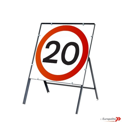 20mph - Metal Road Sign Face With Frame & Clips