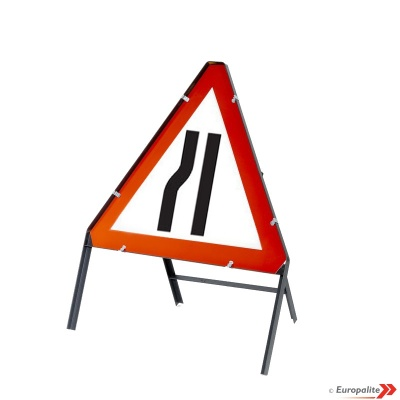 Road Narrows Left - Metal Road Sign Face With Frame & Clips