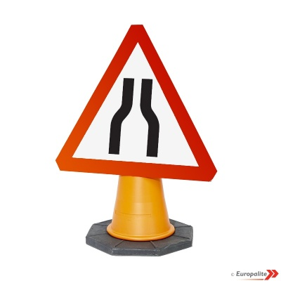 'Road Narrows Both Sides' - UK Temporary Road Sign: Cone Mounted