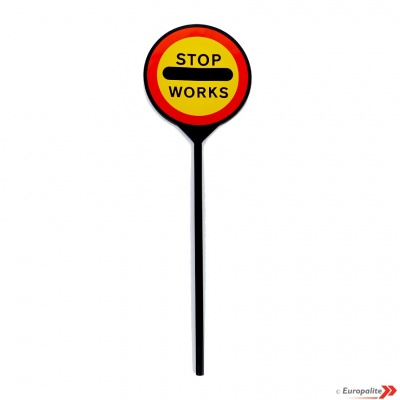 Lollipop Sign - Elite 600mm 'STOP/WORKS'
